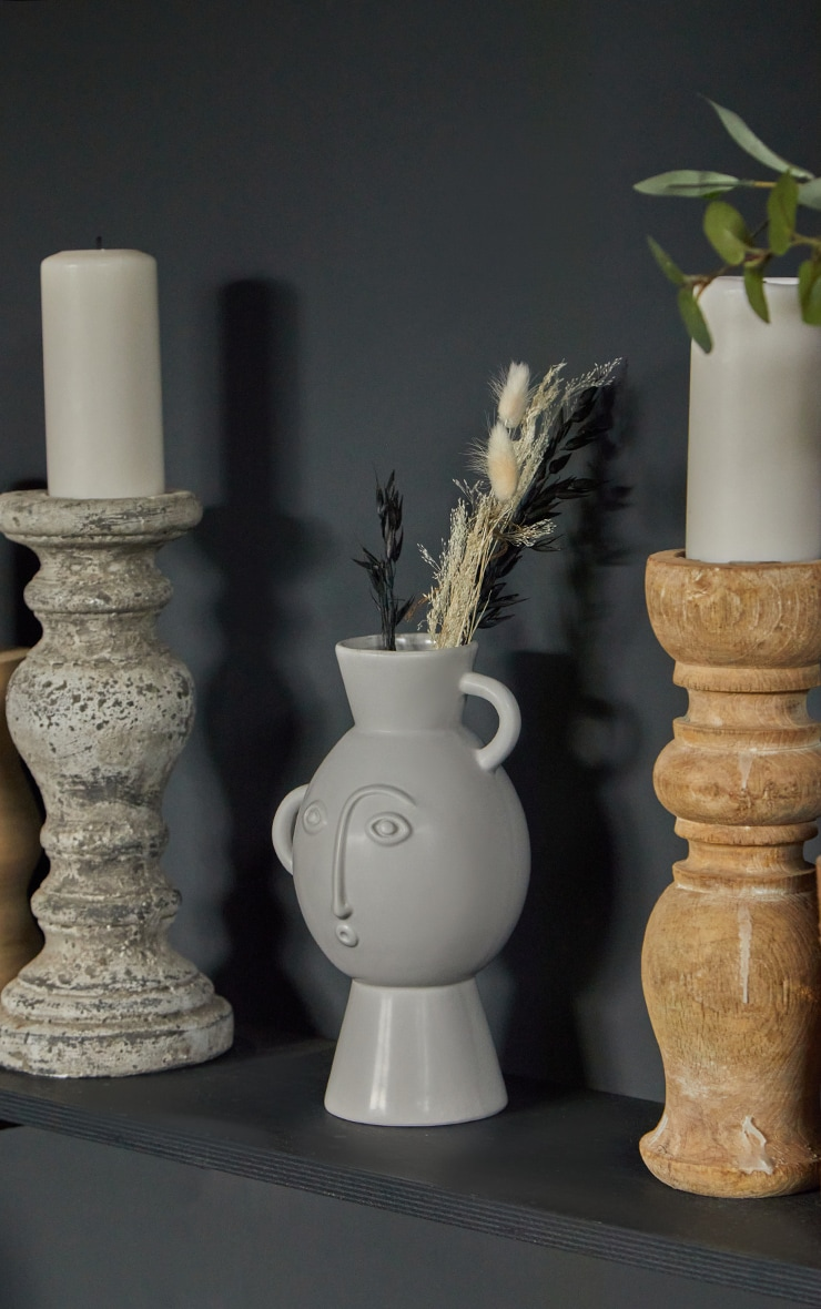 Grey Amira Face Vase With Handles 1