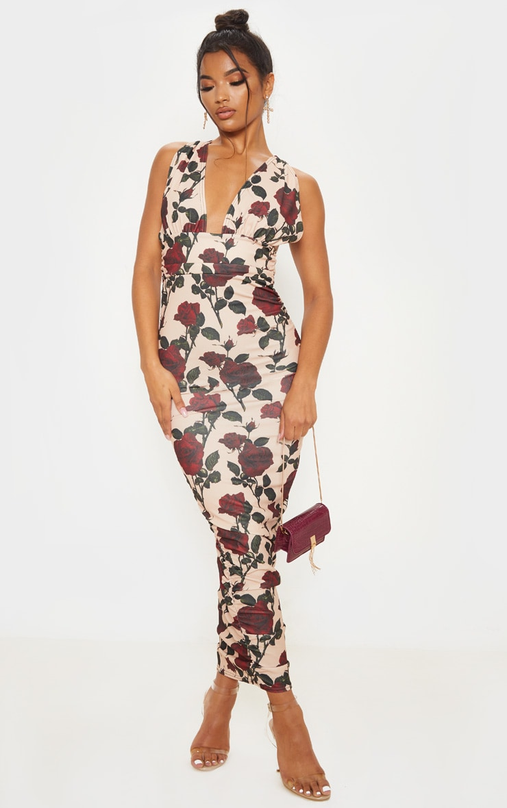Cream Rose Print Deep Plunge Ruched Midaxi Dress 4
