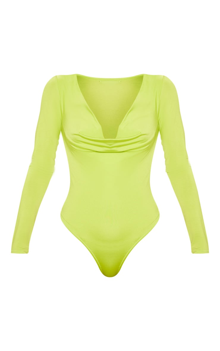 Lime Slinky Cowl Neck Long Sleeve Bodysuit 3
