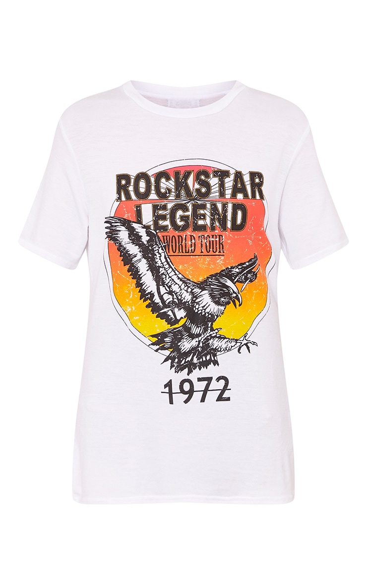 Rockstar Legend Slogan White Print T Shirt 3