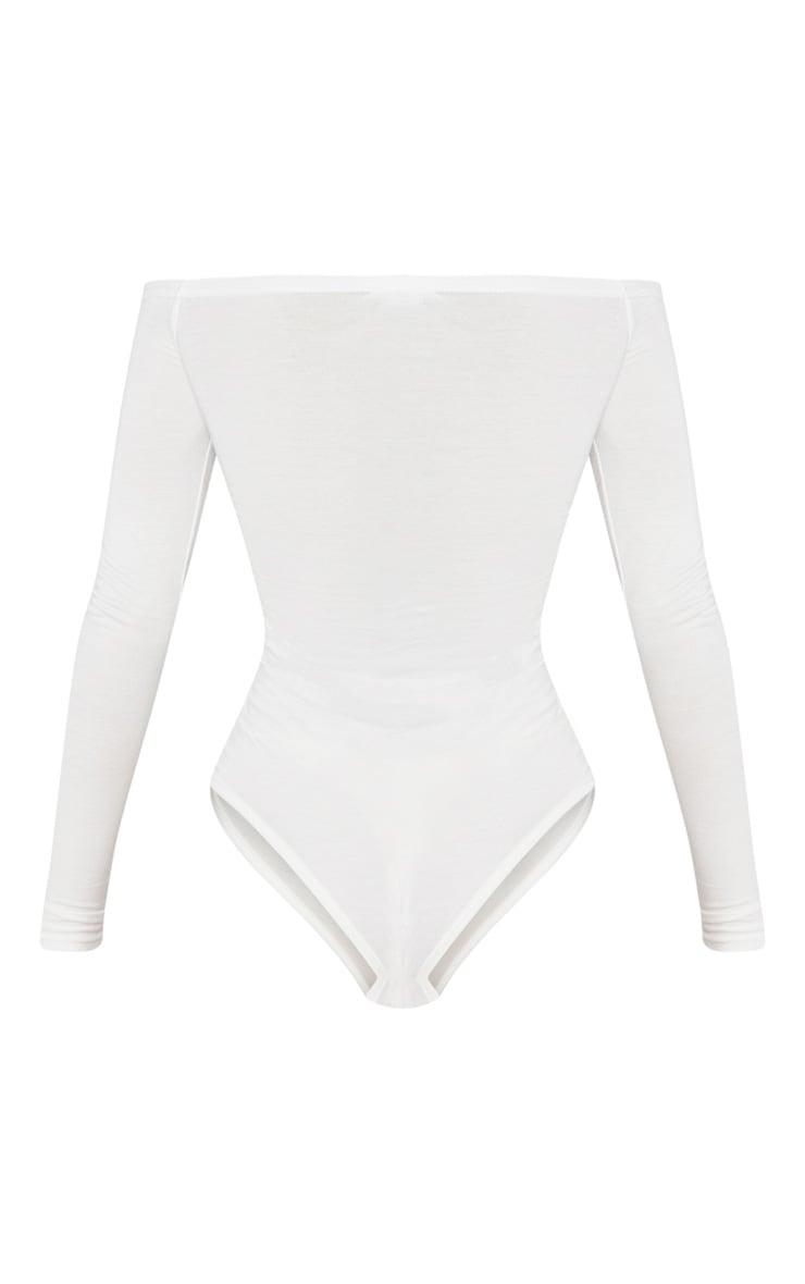 Basic Cream Bardot Bodysuit 3