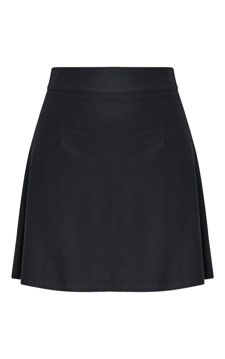 Rose Black Faux Suede A-Line Mini Skirt 3