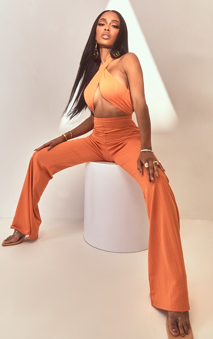 Shape Orange Textured Rib Wrap Neck Wide Leg Jumpsuit