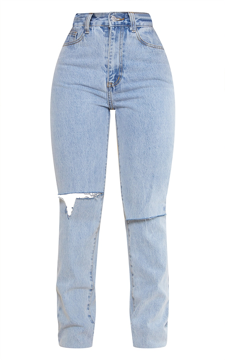 Light Blue Wash Slash Knee Long Leg Straight Leg Jean 5