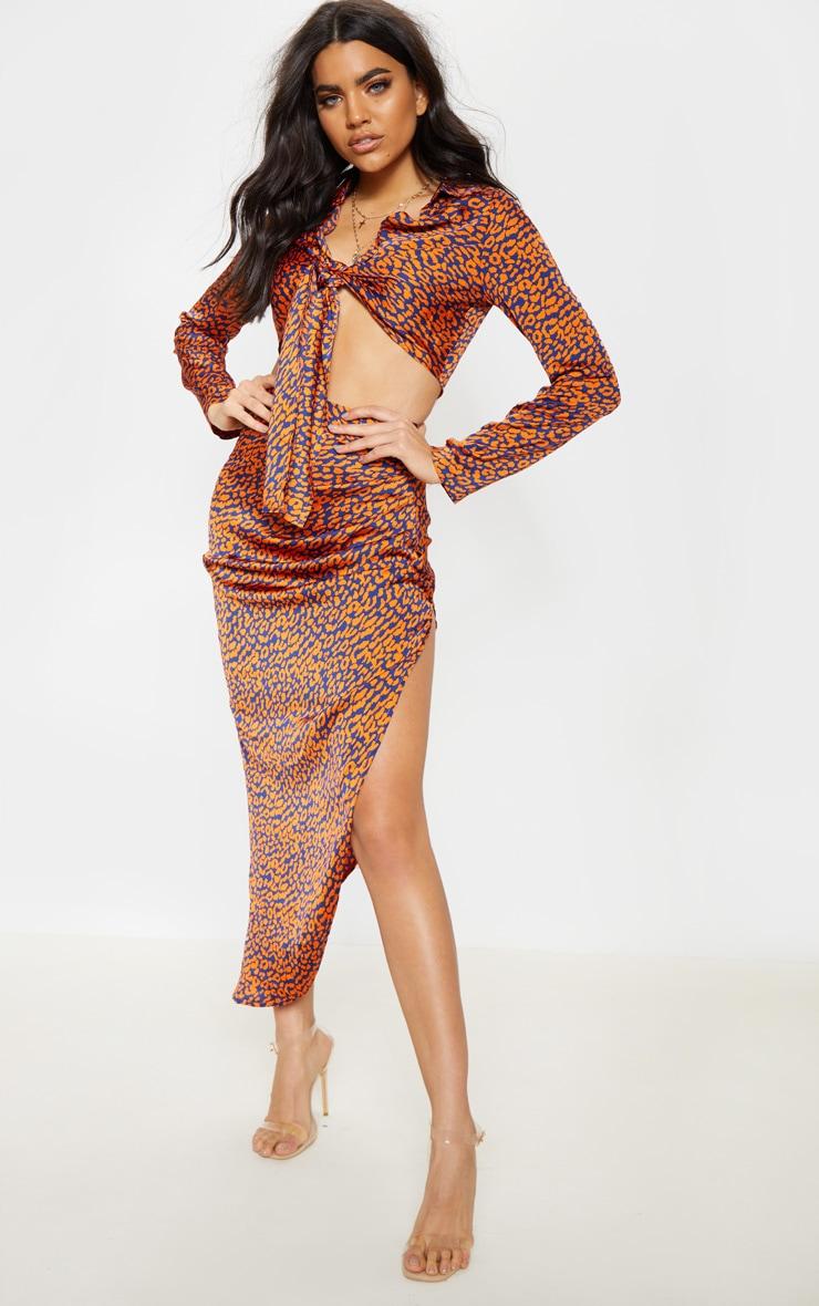 Orange Leopard Print Asymmetric Midi Skirt 1