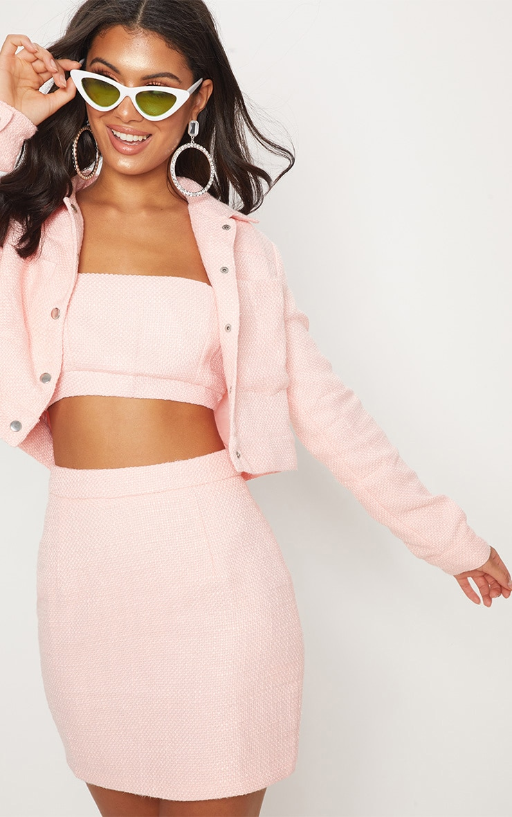 Pastel Pink Boucle High Waisted Skirt 2