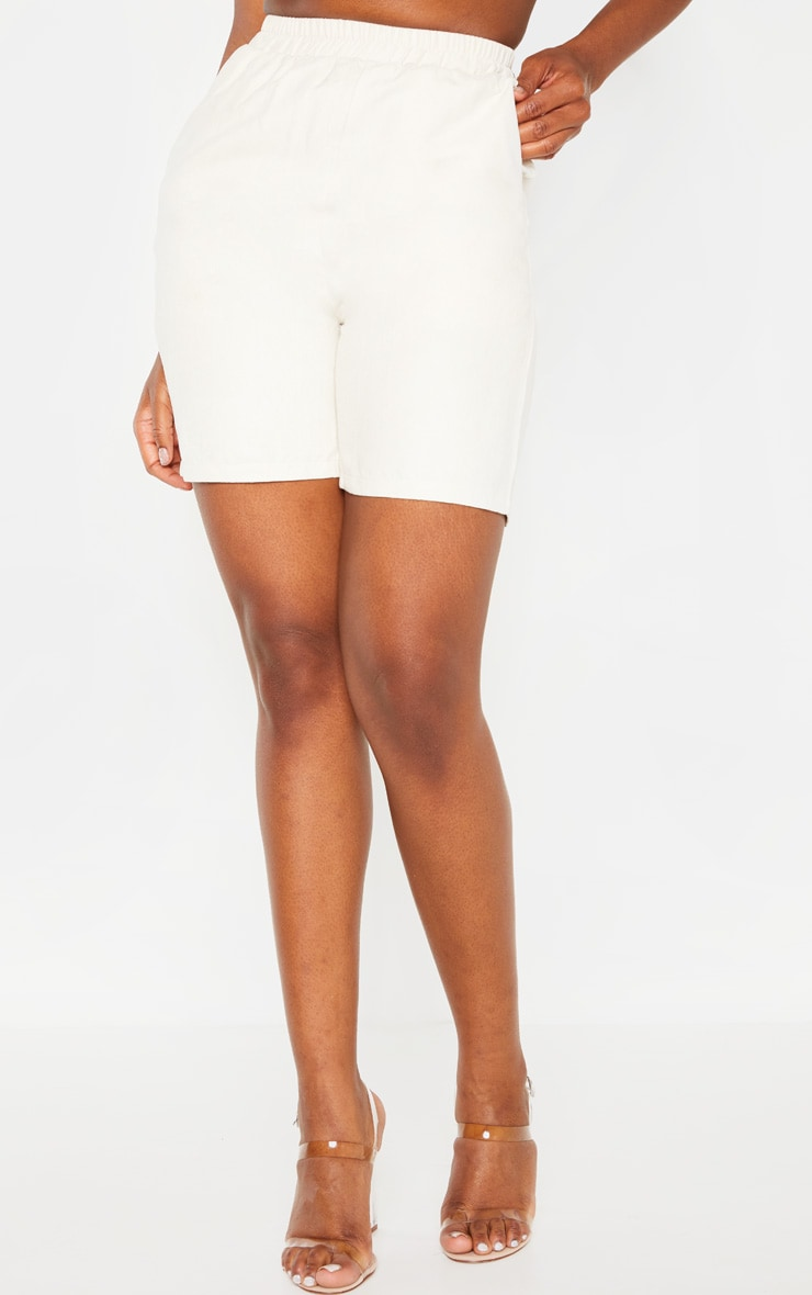 Cream Faux Suede Shorts 2