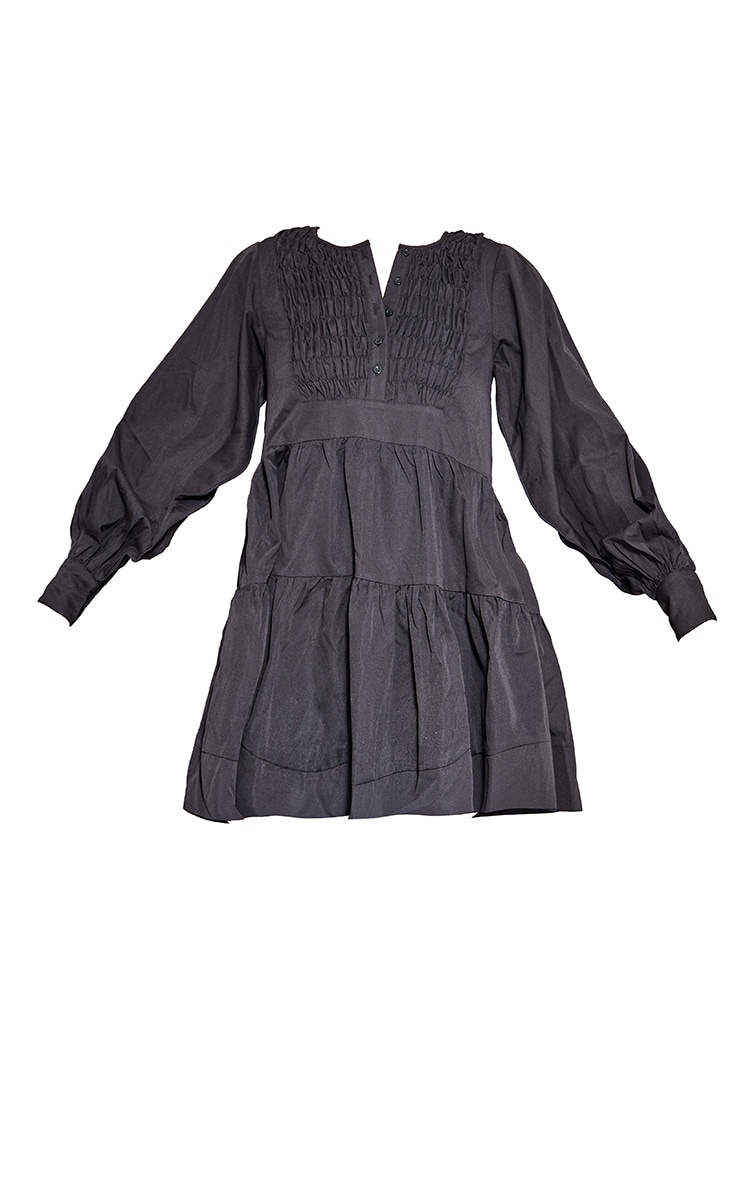 Black Woven Ruffled Tiered Smock Dress 5