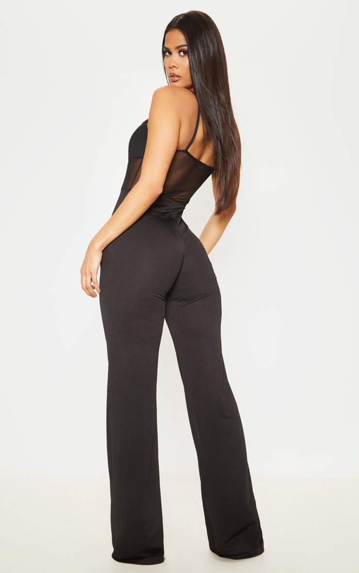 Black Mesh Bodice Wide Leg Jumpsuit 2