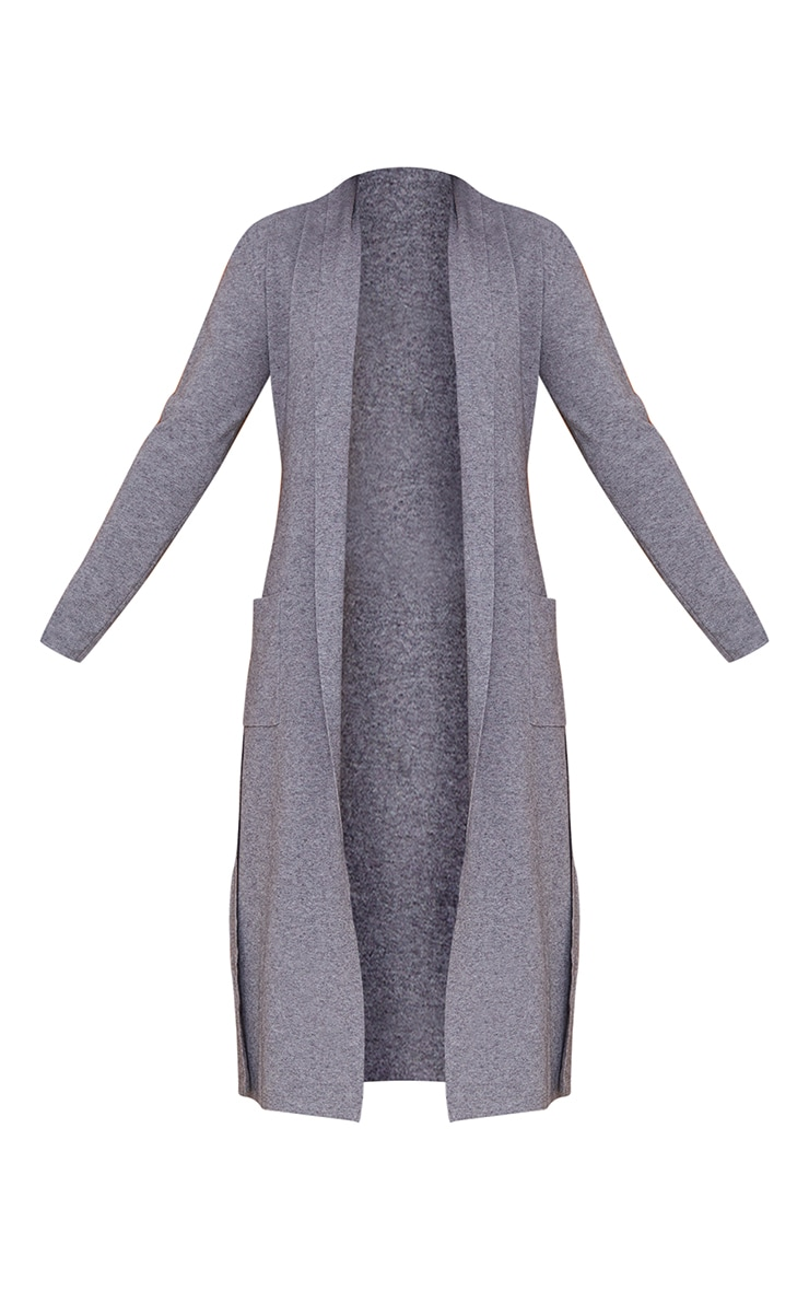 Charcoal Belted Longline Edge To Edge Cardigan 5