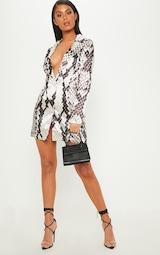 Grey Satin Snake Print Blazer Dress 1