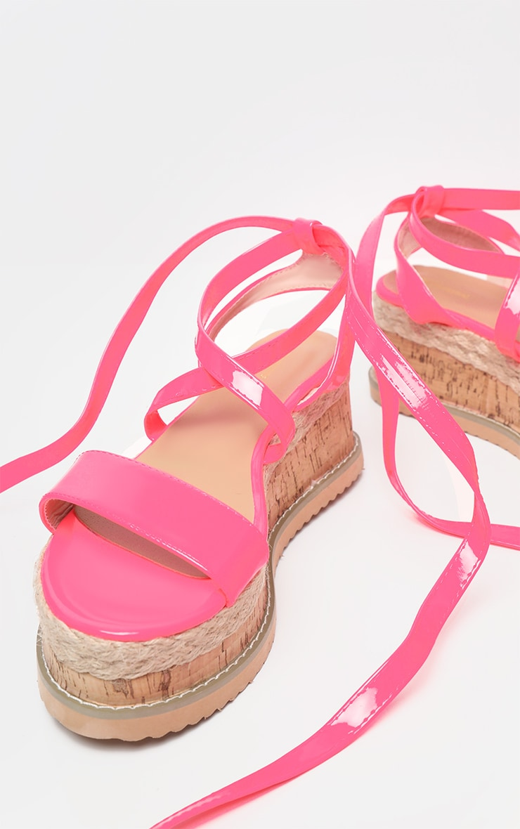 Pink Neon Flatform Espadrille Sandal  3