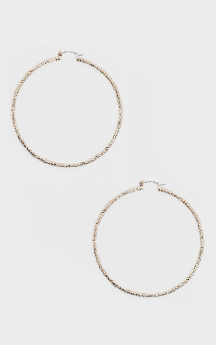 Gold Textured Hoops 2