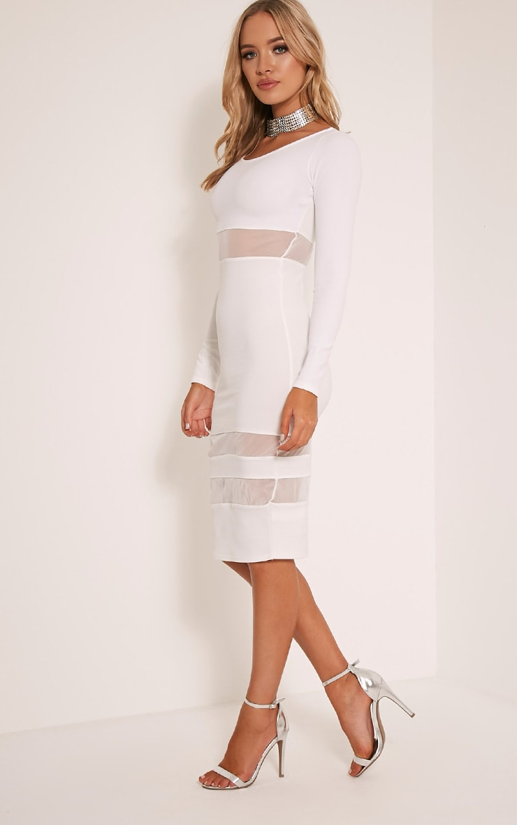 Kaycee White Long Sleeve Mesh Panel Midi Dress 4