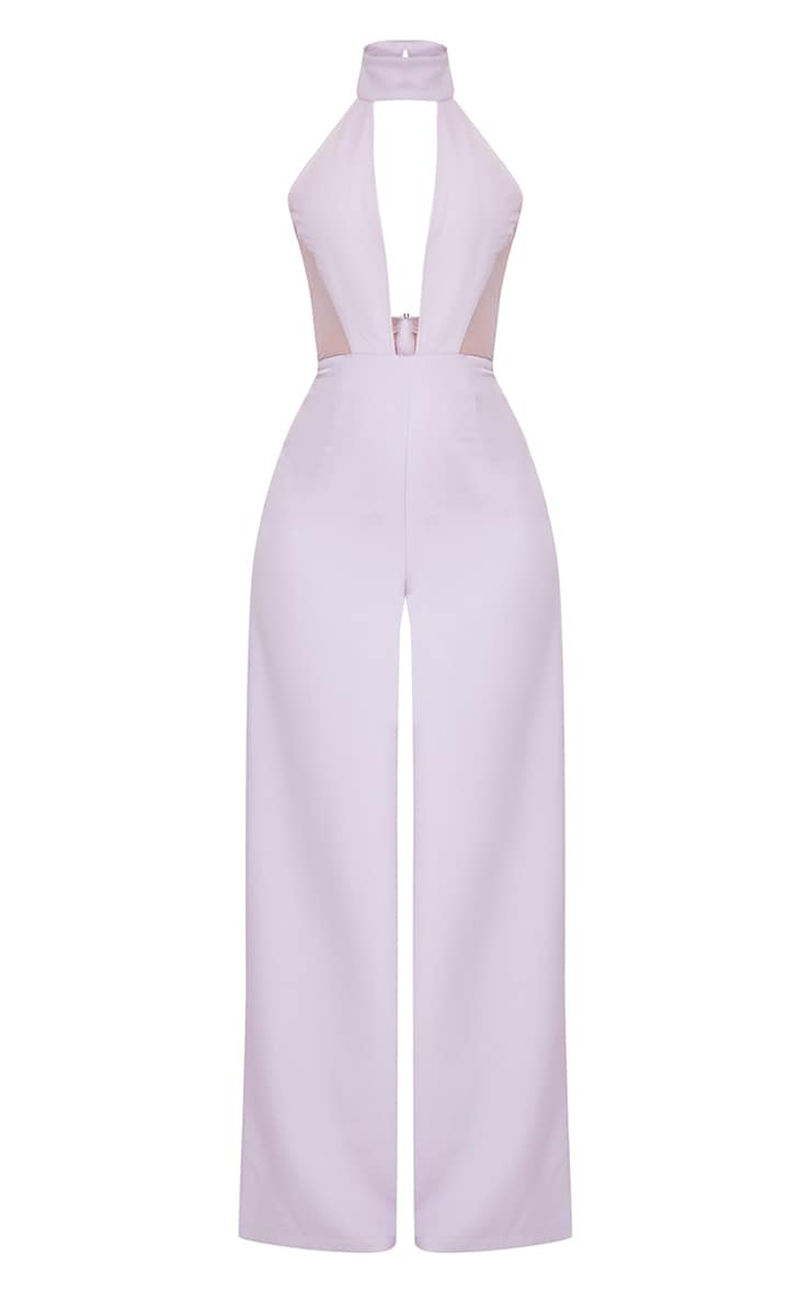 Nonie Grey Choker Neck Mesh Panel Wide Leg Jumpsuit 3