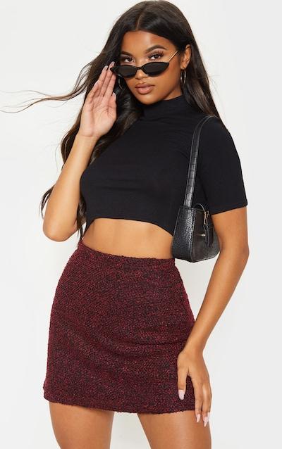 Burgundy Boucle A Line Mini Skirt