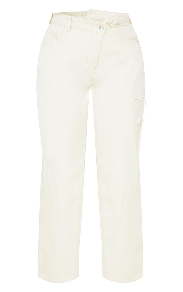 Petite Ecru Baggy Low Rise Asymmetric Waistband Thigh Split Boyfriend Jeans 5