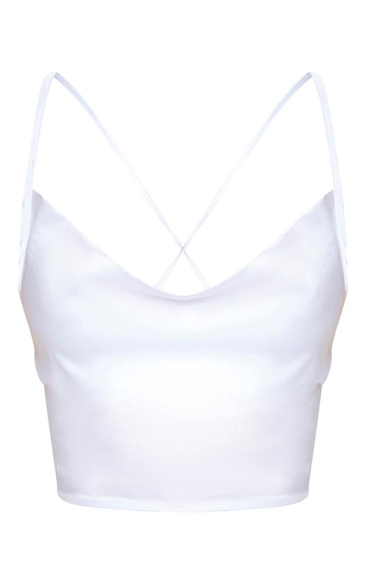 Top bretelles blanc satiné à col bénitier et laçage au dos 4