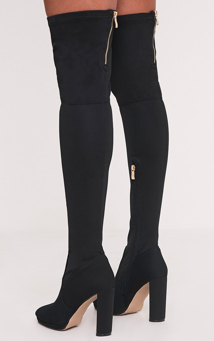 Riyah Black Knitted Pointy Thigh High Sock Boots 4