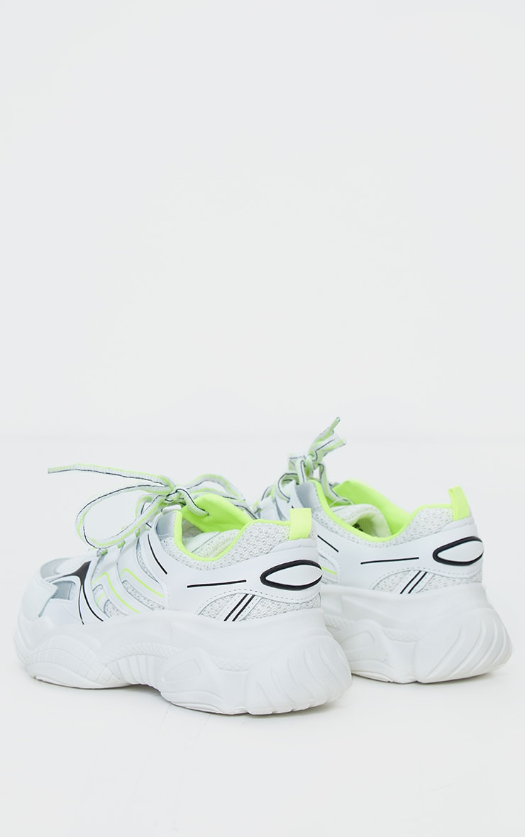 Neon Lime White Mesh Contrast Trainers 4
