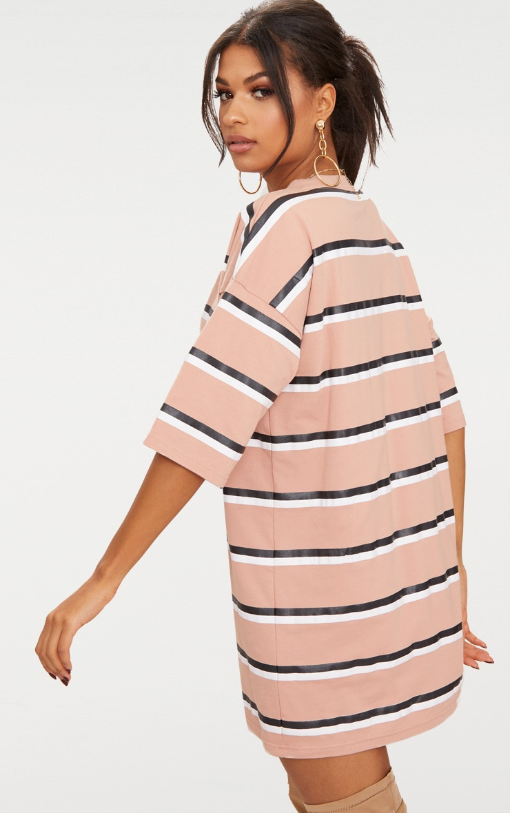 Camel Striped Oversized Boyfriend T Shirt Dress 2