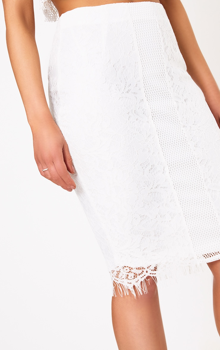 Daiana White Fishnet Panel Lace Midi Skirt  5