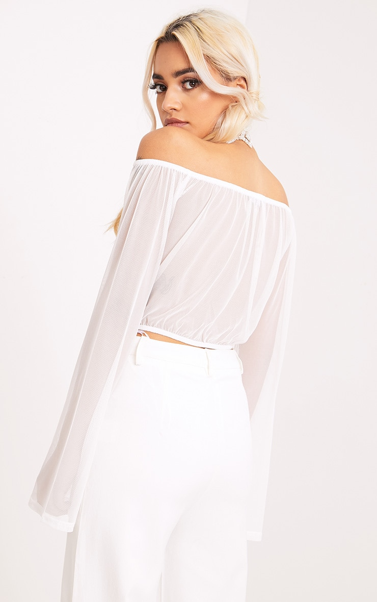 Yessica White Mesh Bardot Flare Sleeve Crop Top 2