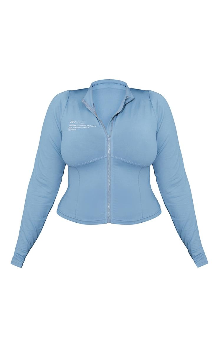 Plus Steel Blue Zip Up Stitch Detail Gym Jacket 5