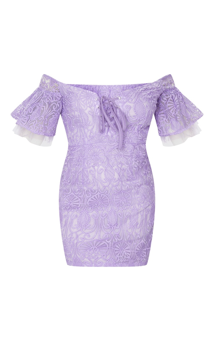 Lilac Embroidered Frill Sleeve Lace Up Bodycon Dress 5
