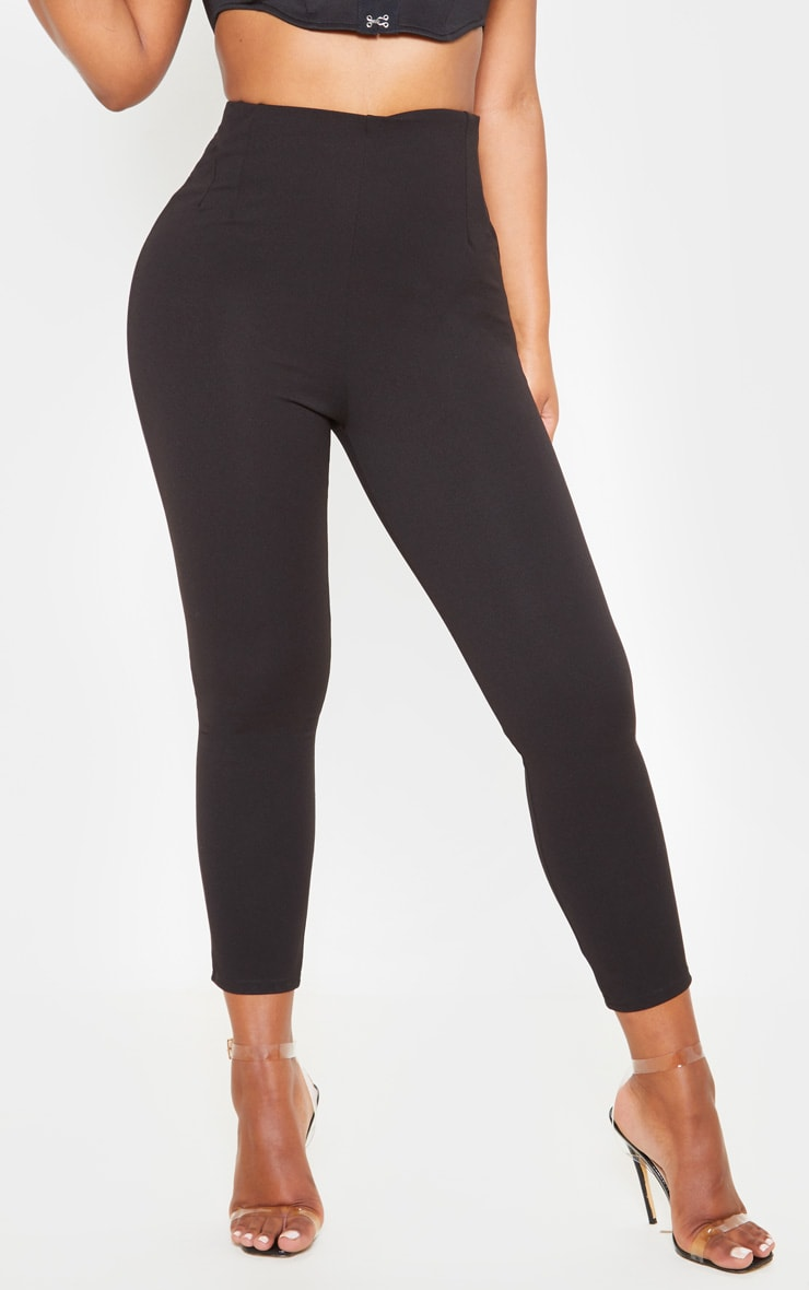 Black High Waisted Pleated Front Detail Skinny Pants 2