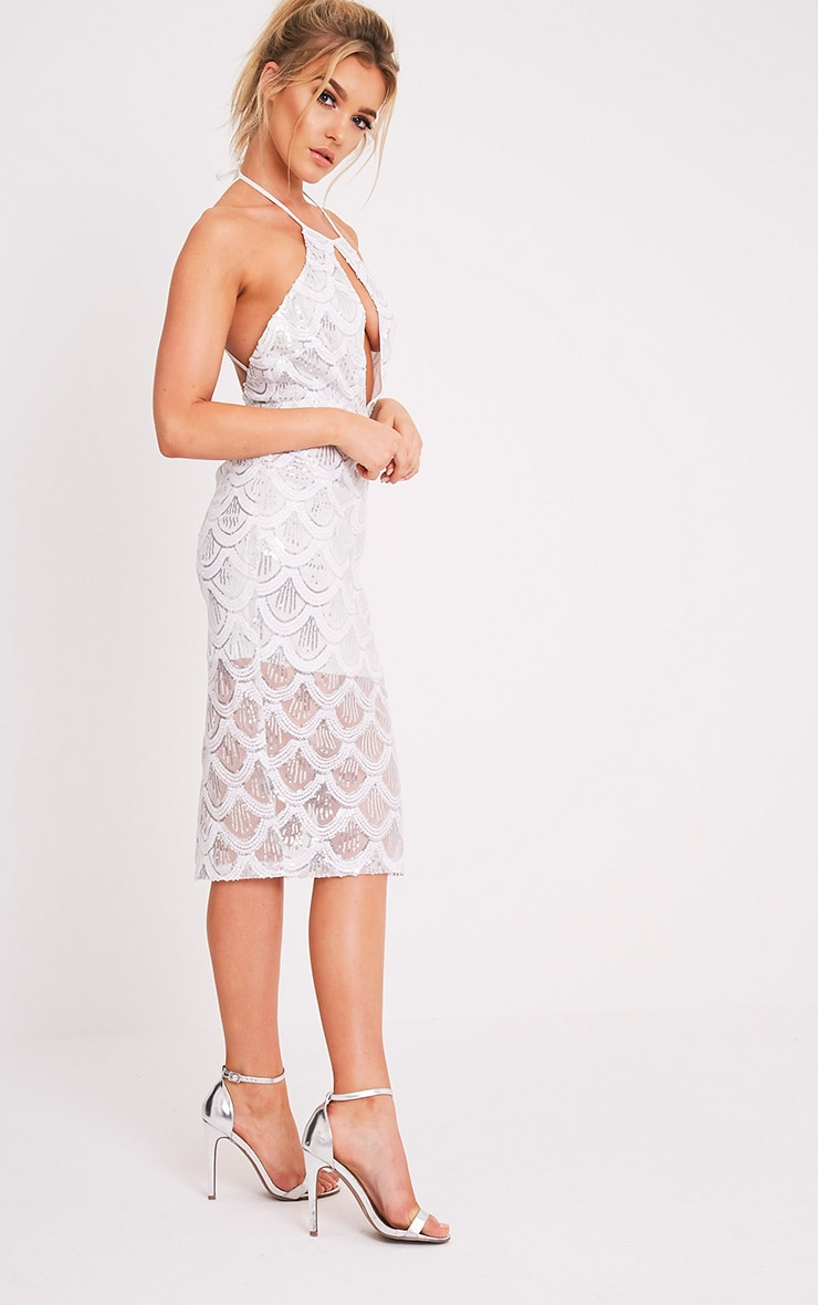 Amarie White High Neck Keyhole Sequin Midi Dress 5