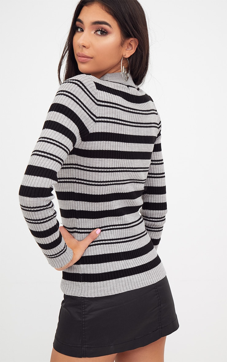 Grey Stripe Knitted Jumper 2