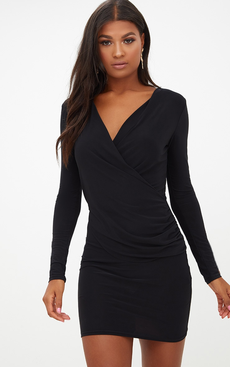 Black Slinky Ruched Wrap Over Bodycon Dress 1