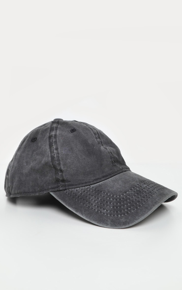 Black Distressed Fabric Cap   2
