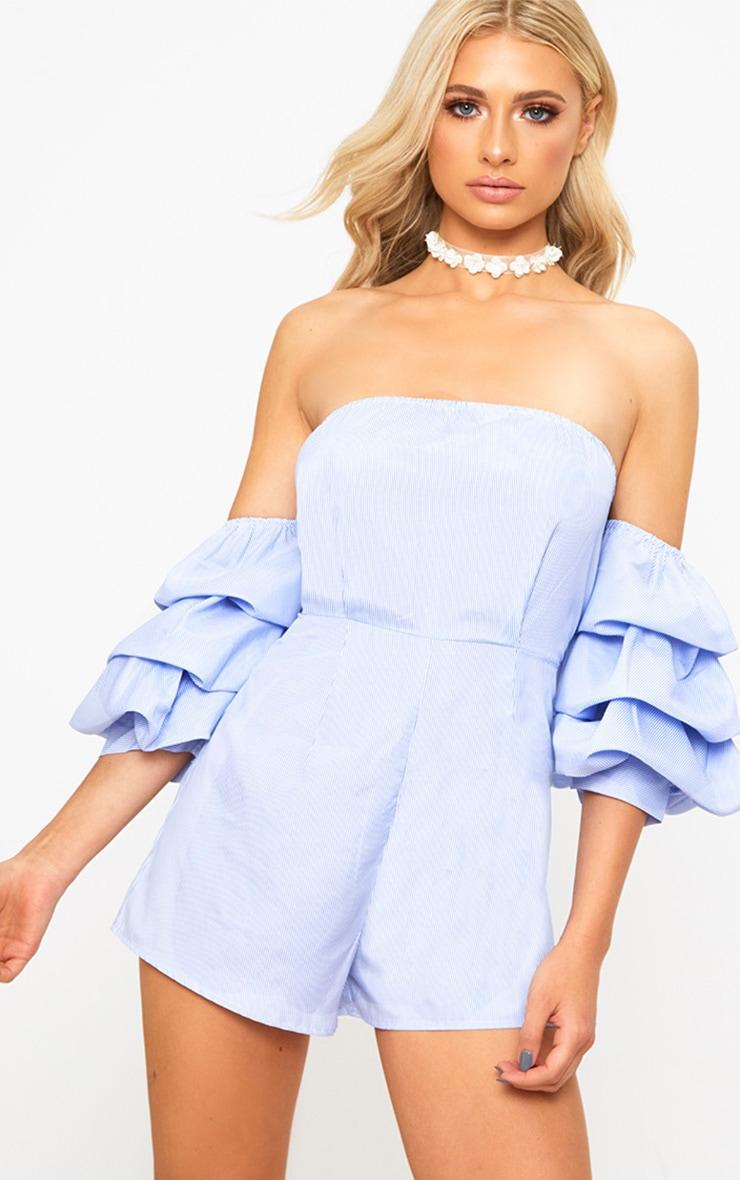 Blue Stripe Ruffle Sleeve Playsuit 1