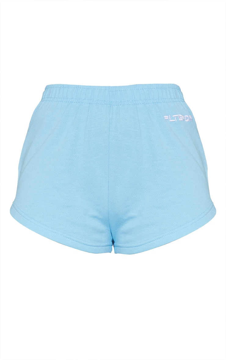 PRETTYLITTLETHING Blue Embroidered Sports Shorts 6