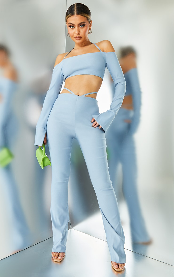 Light Blue Stretch Woven Cut Out Detail Skinny Flared Trousers 1