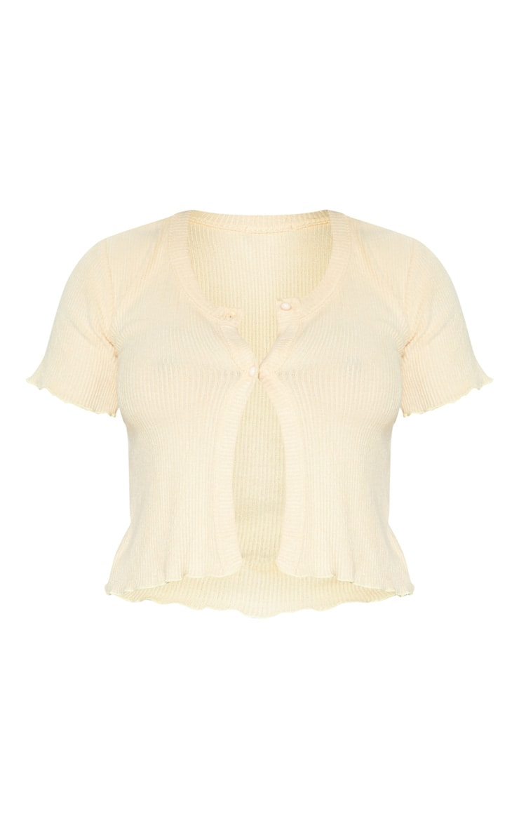 Sand Brushed Rib Button Front Short Sleeve Top 3