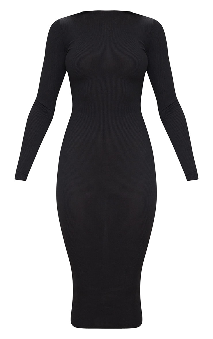 Black Ribbed Long Sleeve Midi Dress 3