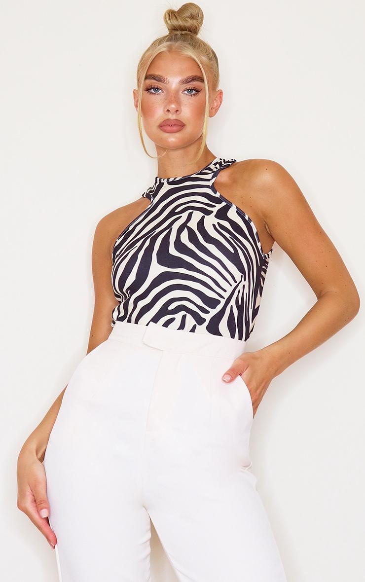 Cream Crepe Zebra Print Racer Neck Bodysuit 1