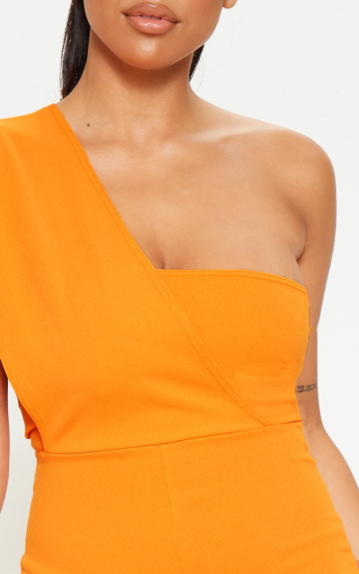Petite Orange Drape One Shoulder Jumpsuit 5