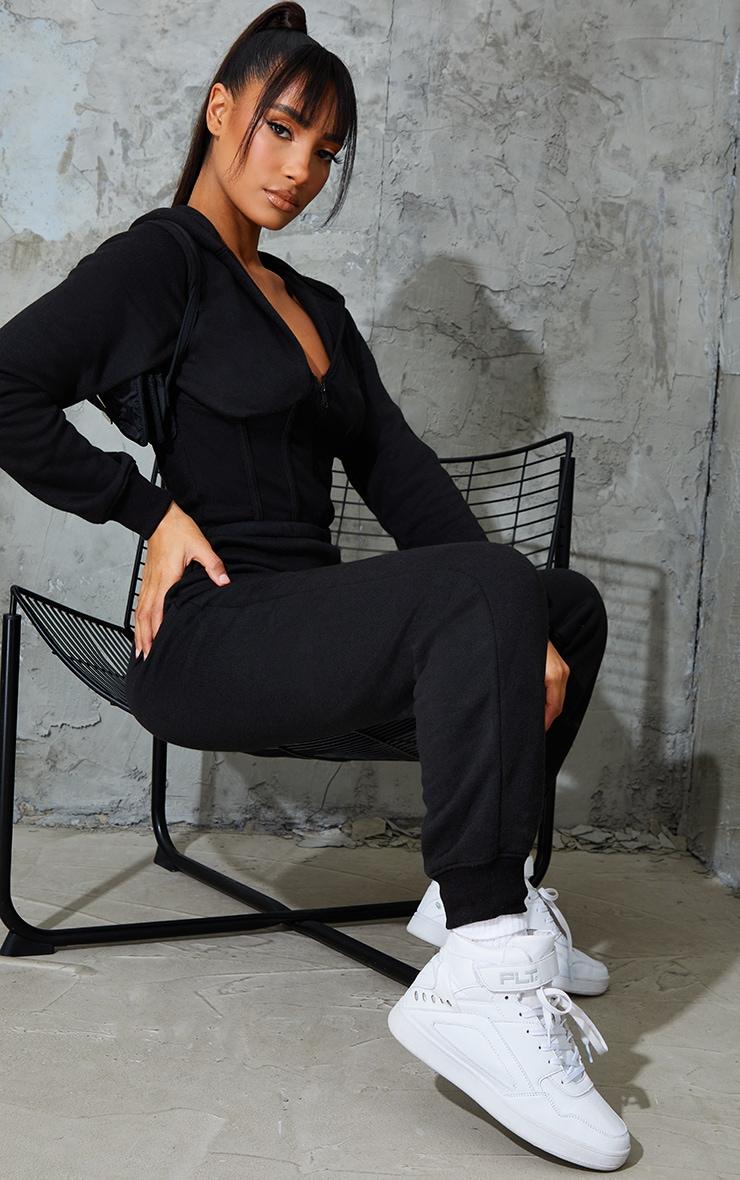Black Corset Detail Hooded Sweat Jumpsuit 3