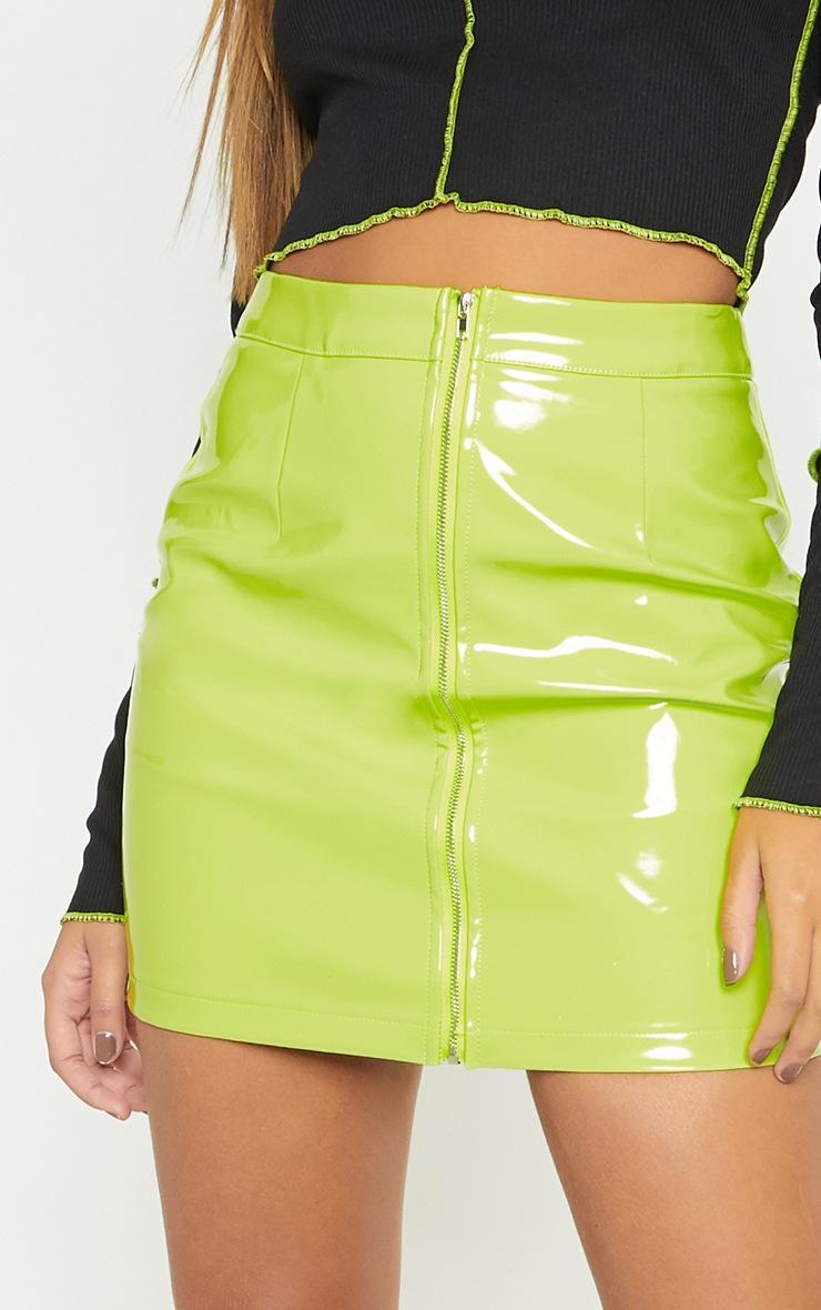 Neon Lime Vinyl Mini Skirt Skirts Prettylittlething