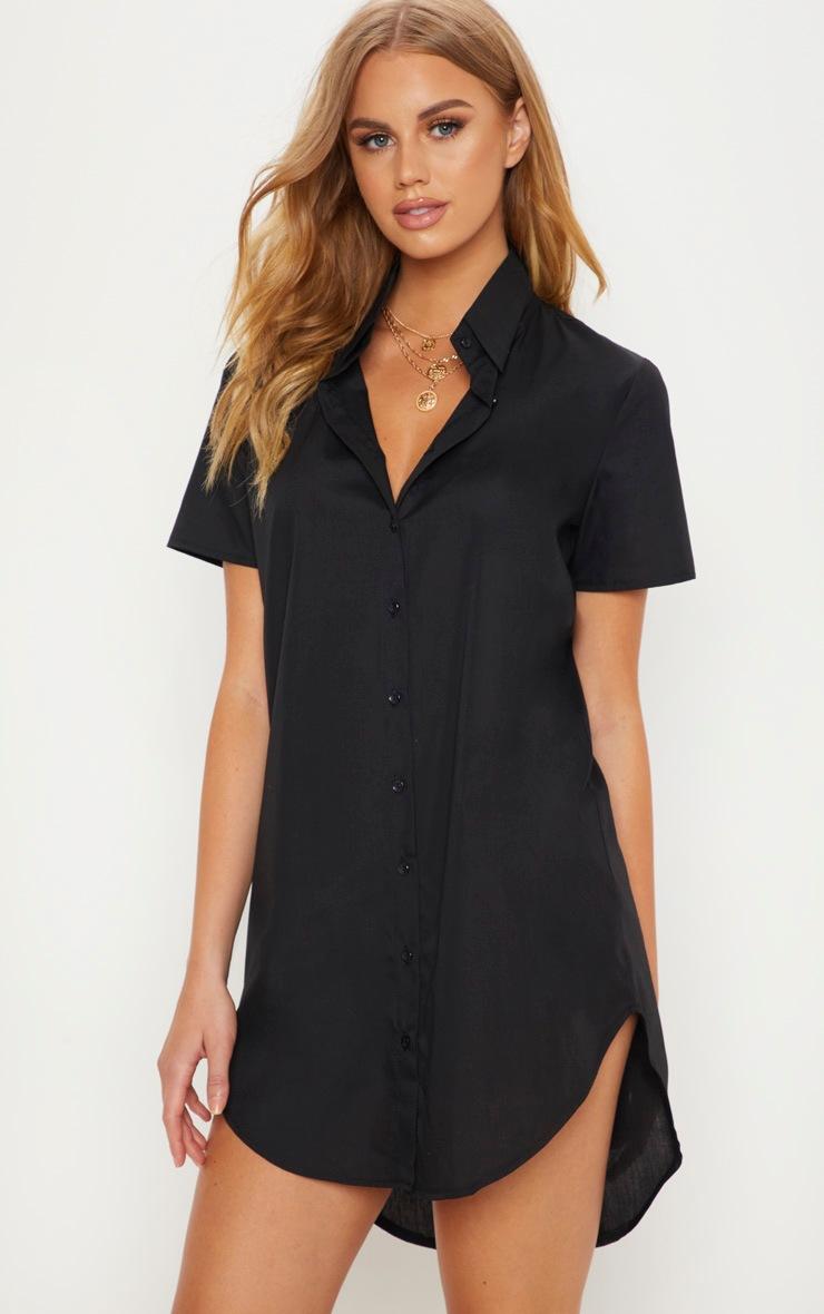 Black Short Sleeve Dipped Hem Shirt Dress 1