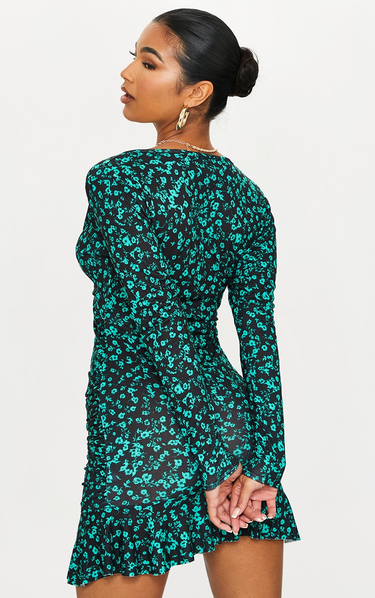 Green Floral Print Ruched Wrap Frill Hem Bodycon Dress 2