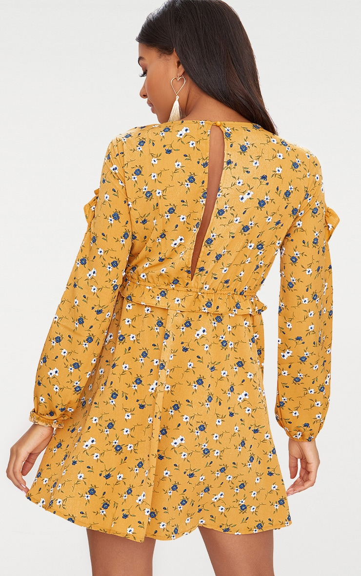 Mustard Floral Frill Long Sleeve Shift Dress  2