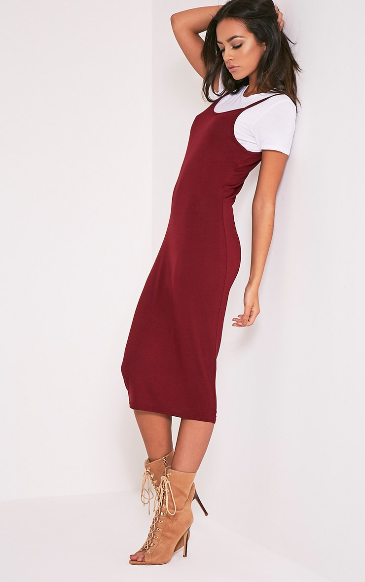 2 Pack Basic Burgundy T Shirt and Midi Dress 1