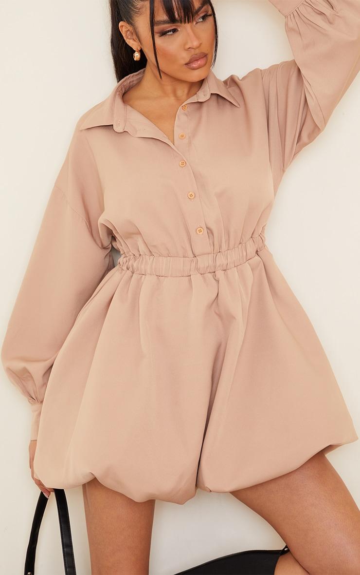 Stone Puffball Hem Shirt Dress 4