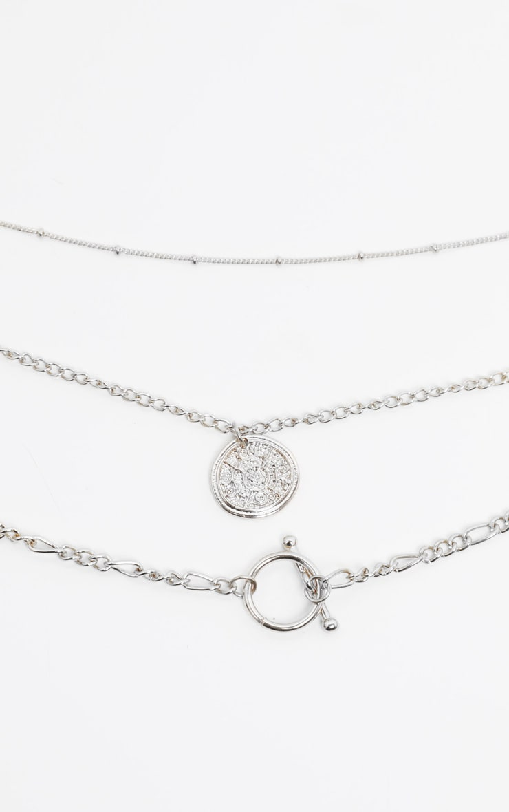 Silver T Bar And Disc Multi-Layer Necklace 3