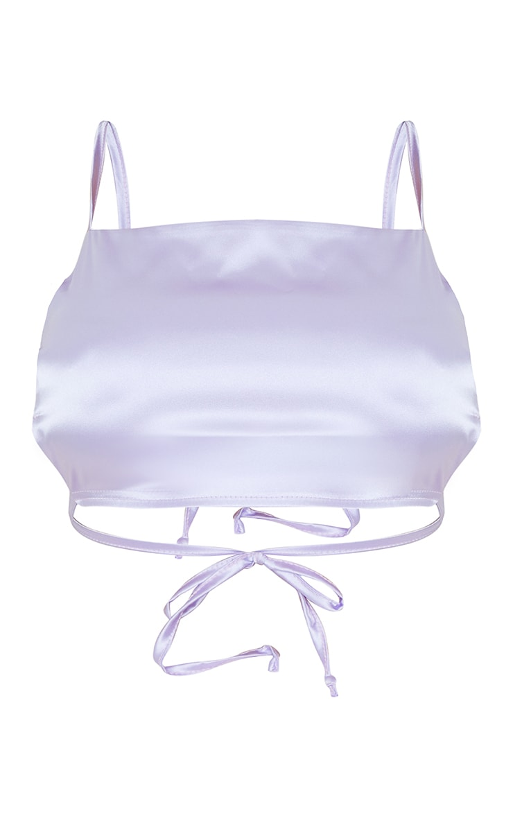 Lavender Satin Backless Strappy Crop Top 5